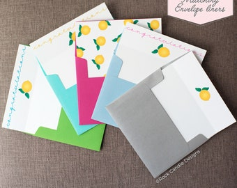 Printed Matching Envelope Liner | A2 Sized Liner | Baby Shower Liner | Lemon Liner | Baby Shower Liner | Congratulations on Your Baby Liner