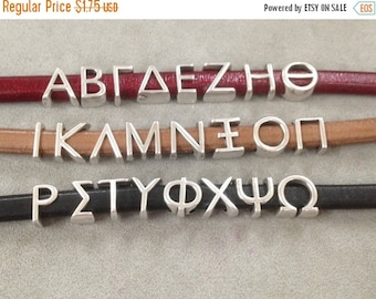On Sale NOW 25%OFF Greek Alphabet Letters For 10x6mm Licorice Leather Cord  Antique Silver Z939 Qty 1