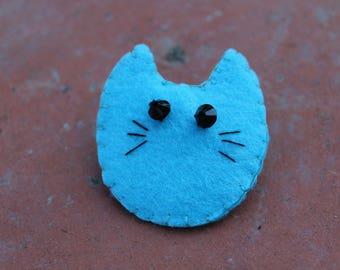Pretty blue fancy felt brooch