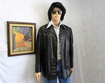 70s 42 Leather Jacket Car Coat Black Sears