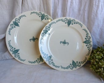 Set of 2 Antique french green transferware round serving platters. Art Nouveau. Lily of the Valley. Emerald green. Cottage. Botanical print