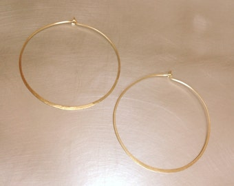 Large Hoop Gold 14k Earrings 45mm Thin Minimalist