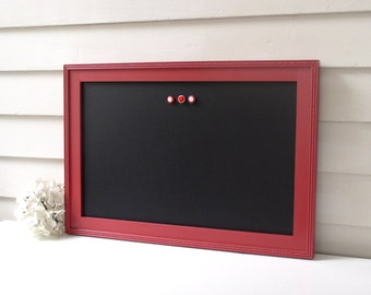 Elegant Framed Magnetic Chalkboard 15 x 22 Bulletin Board Handmade Hardwood Frame in Pomegranate Red with Handmade Frame and Button Magnets