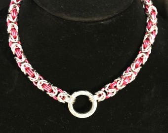 Pink and Silver Byzantine Weave Collar/Necklace