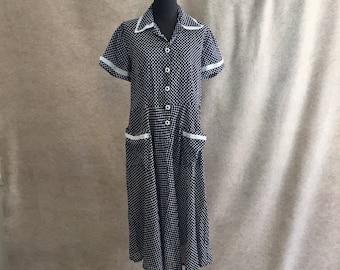 Vintage 50's Day Dress, Navy Blue Polka Dot Dress, Short Sleeve, Large, Bust 41, Waist 37, Rockabilly Style, Sailor, Nautical