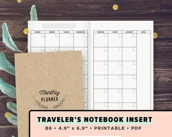 B6 TN Inserts | Monthly Inserts Undated, Month on 2 Pages, Printable Travelers Notebook Inserts, View | Foxy Fix No.5, Instant Download