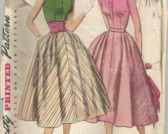 1950s Full Skirt Sleeveless Blouse Cummerbund Rockabilly Dance Party Day Simplicity 4321 Size 14 Bust 32 Women's Vintage Sewing Pattern