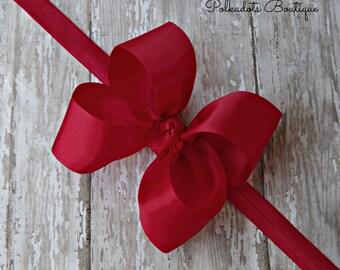 Boutique Red Satin Headband Big Bow Headband Red Baby Headband Red Headband Large Bow Headband Christmas Bow Red Headband Christmas Headband