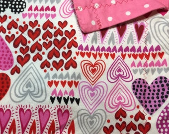 Hearts and Polka Dot Flannel Baby Blanket