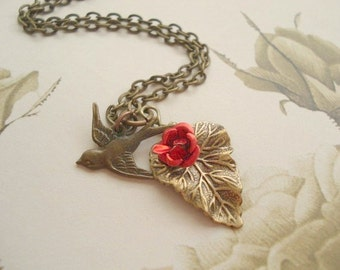 Red Rose Necklace Brass Bird Necklace, Red Flower Necklace Sparrow with Red Rose on Leaf, Bird Pendant, Bird Jewelry Whimsical Woodland