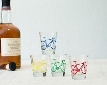 Bicycle Shot Glasses, single Red, Yellow, Blue, or Green screen printed bike