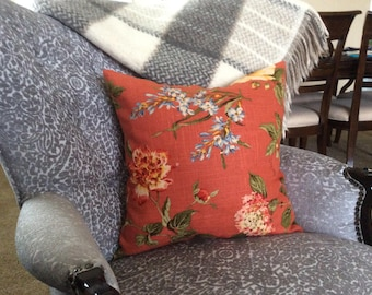Burnt Orange Flower Pillow , Rusty Floral Throw,  Euro Sham - in different sizes