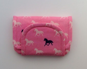Horse / pony children's fabric wallet / purse . Pink horses with pale pink lining . kids coin purse . kids wallet