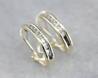 Elegant Diamond Hoop Earrings, Anniversary Earrings R1RW5T-R