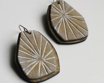 Metallic, antique brass, Starburst dangle earrings