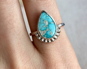 Turquoise ring, sterling silver turquoise ring, silver turquoise ring, natural turquoise ring, raw turquoise ring, turquoise jewelry