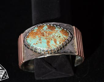 Sterling Silver • Copper • Turquoise • Cuff • Handmade • Wide Band • Bracelet • Southwest •Gem Grade• Kingman Turquoise • Handmade • Signed