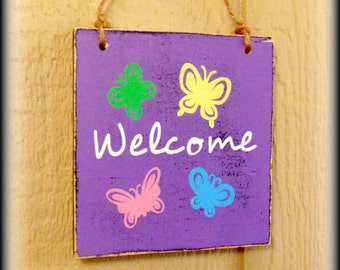 Spring Welcome Sign - Housewarming Gift - Wooden Door Sign - Spring Door Decor - Seasonal Plaque - Purple Home Decor - Spring Wall Hanging