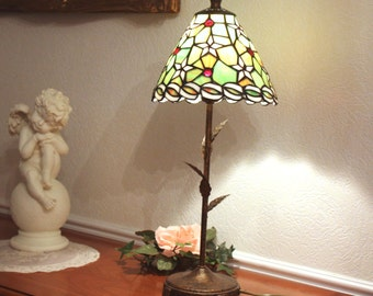 stained glass lamp - style - color glass lamp - tiffany light shade - tapered Lampshade