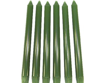 6 Tropical Green Classic Hand-poured Unscented Taper Candles