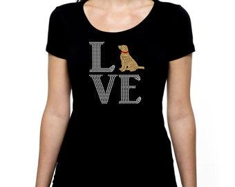 Love Lab RHINESTONE t-shirt tank top  Bling S M L XL 2XL - Labrador Retriever Dog Animal Animals Adoption Dogs Pet Rescue Lover