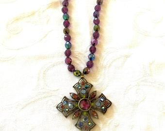 Vintage Maltese Cross Necklace, Glass Beads, Iridized Stones, Malta Cross Jewelry, Heraldic Necklace