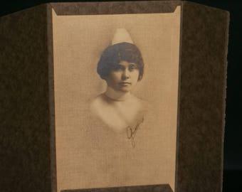 Antique Nurse Cabinet Photograph Tri-Fold Cover / 1920