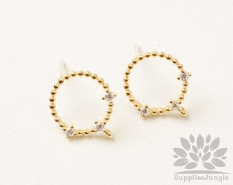 E348-G// Gold Plated Cubic Pointed Mini Ball Round Earring Post, 2pcs