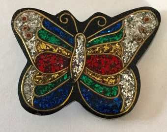 Large realistic Butterfly Shape colorful Glitzy Button Vintage butterflies