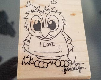 2x3 inches Brentwood owl I love t-shirt red rubber stamp perfect for card-making or scrapbooking