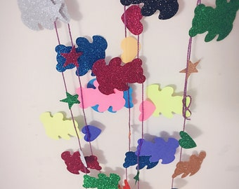 Colorful Glitter Cutie Heart and Bear Garland for Special Occasions