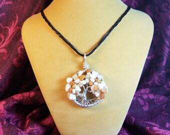 Handmade White and Orange Tree of Life Pendant Necklace