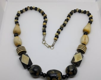 Vintage Geometric Necklace, Geometric Bead Necklace, Wooden Necklace, Black Beads, Statement Necklace, Gift For Her, Geometric Jewellery