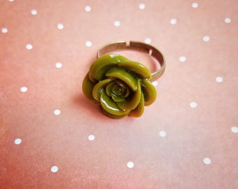 Green Flower Adjustable Ring - The Hidden Bin