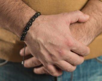Obsidian bracelet men, Healing bracelet men.Beaded bracelet men Men's Gemstone Shamballa Beaded Bracelet Natural Stone Bracelet Gift for Him