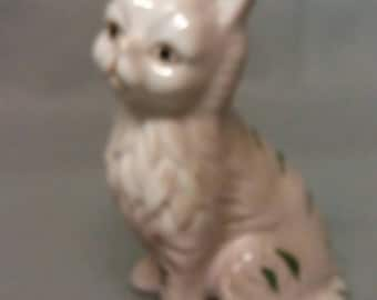 Beige and Tan Cat with Green Stripes Figurine
