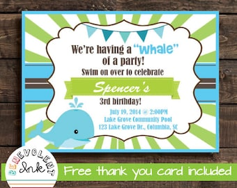 Whale First Birthday Party Invitation - Printable 1st Birthday Invite - Whale Theme Birthday Party - FREE Thank You Card