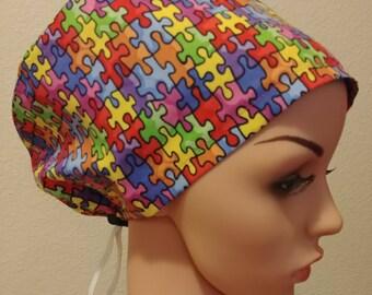 Women's Surgical Cap, Scrub Hat, Chemo Cap, Autism Awareness
