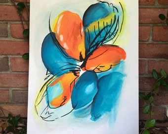 Abstract Art // Flower Canvas Painting // Abstract Painting