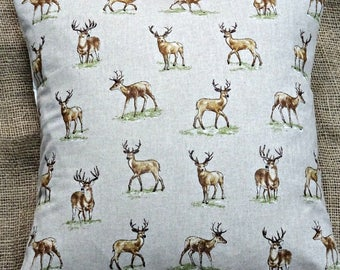 """New Countryside Animals 'Stags' Print Cushion Cover 16""""x16"""""""