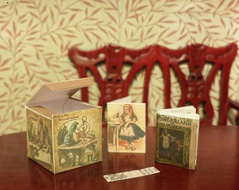 Miniature vintage Alice in wonderland gift set.