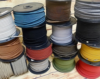 25 Feet: 2-Wire Cloth Covered Cord, FREE US SHIPPING, Vintage Style Flat Fabric Braided Electrical Flex Cable in 16 colors, Lamps, Desk Fans