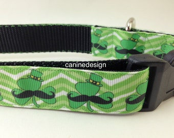 St Patrick's Dog Colar, Shamrock Mustache, 1 inch wide, adjustable, quick release, metal buckle, chain, martingale, hybrid, nylon