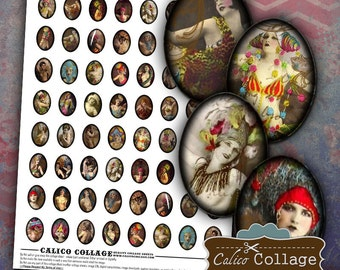 Burlesque Ephemera Digital Collage Sheet 18x25mm Ovals for Earrings, Pendants, Cabochons, Bezel Settings, Decoupage, Resin, Glass, Art