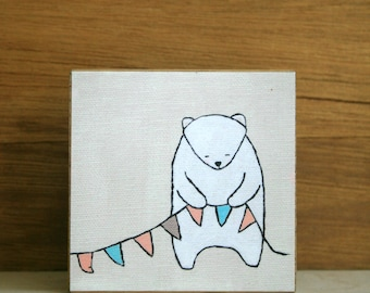 "ART BLOCK: ""George, After the Party"" featuring a quiet white bear holding bunting"