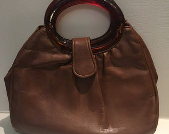 Vintage JR Florida USA Brown Faux Leather Purse Handbag with Amber Lucite Handle