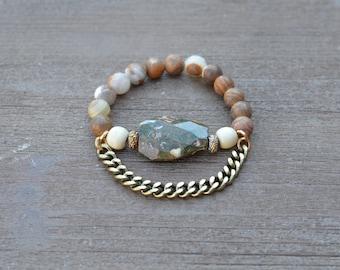 CLOSEOUT Chunky Beaded Stretch Bracelet Green Jade - Stone Bead Statement Bracelet - Wood Bead Bracelet - Stackable Beaded Bracelet