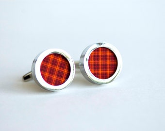 Red and Orange Stripes on Cufflinks - Unisex , cufflinks for Dad, Husband,  novelty cufflinks, Christmas gift for him