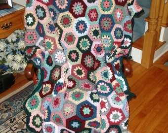 Hexagonal Granny Squares crocheted afghan