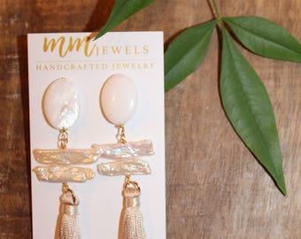 Cream Silk Tassel Shell and Freshwater Pearl Dangle Earrings